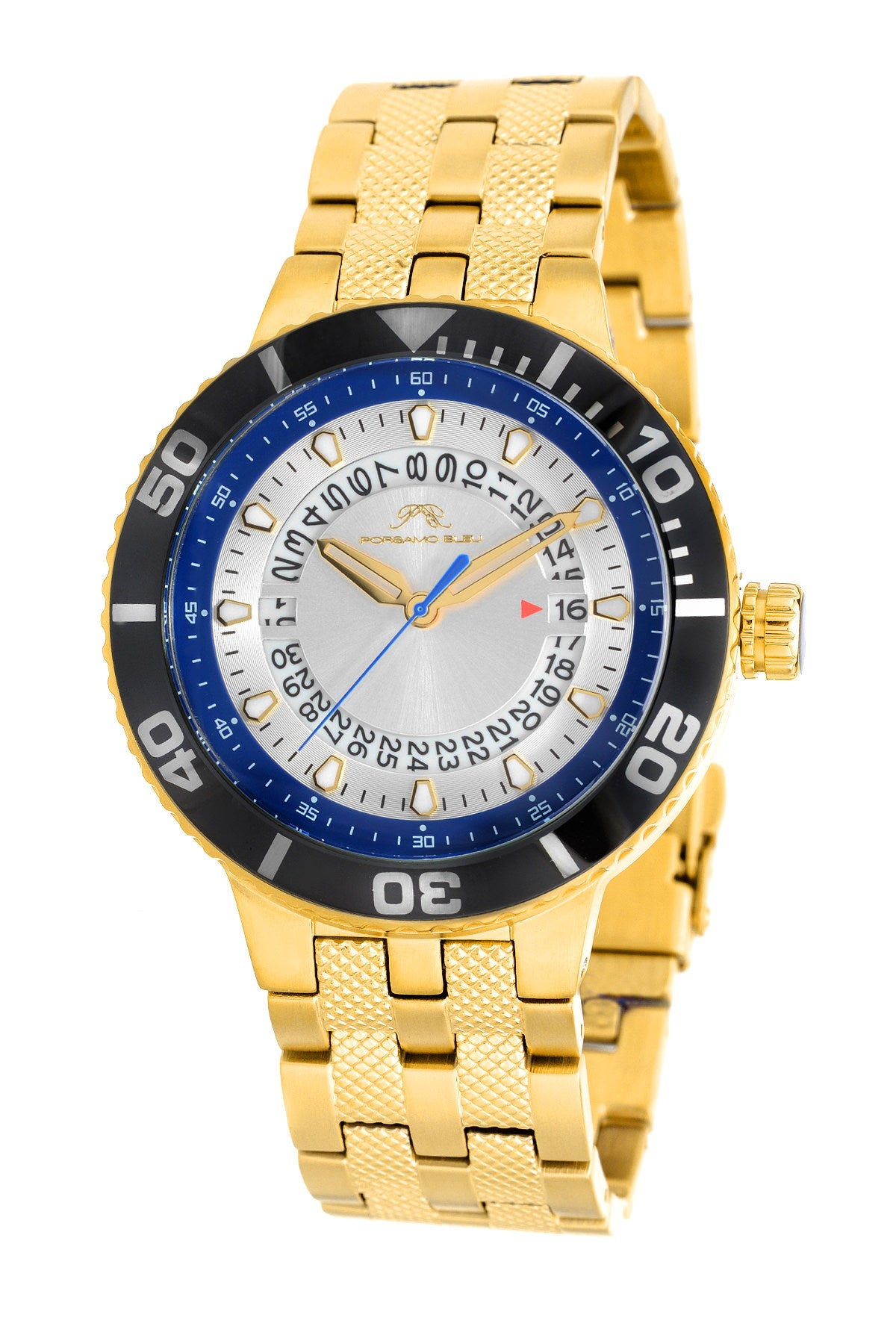 Porsamo Bleu Sebastian luxury men's stainless steel watch, gold, black, blue 462BSES