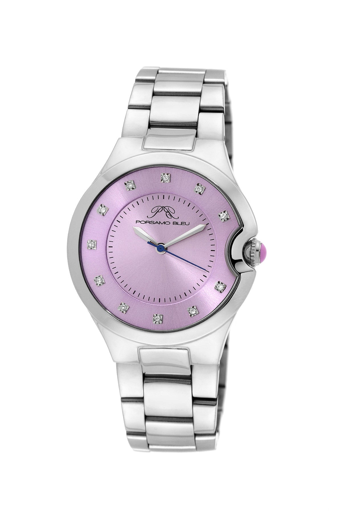 Porsamo Bleu Emilia luxury diamond women's stainless steel watch, silver, lilac 822BEMS