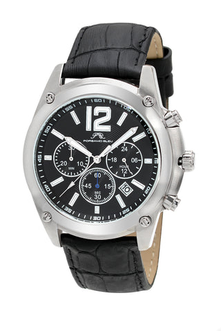 Porsamo Bleu Nathan luxury chronograph men's watch, genuine leather band, silver, black 642ANAL