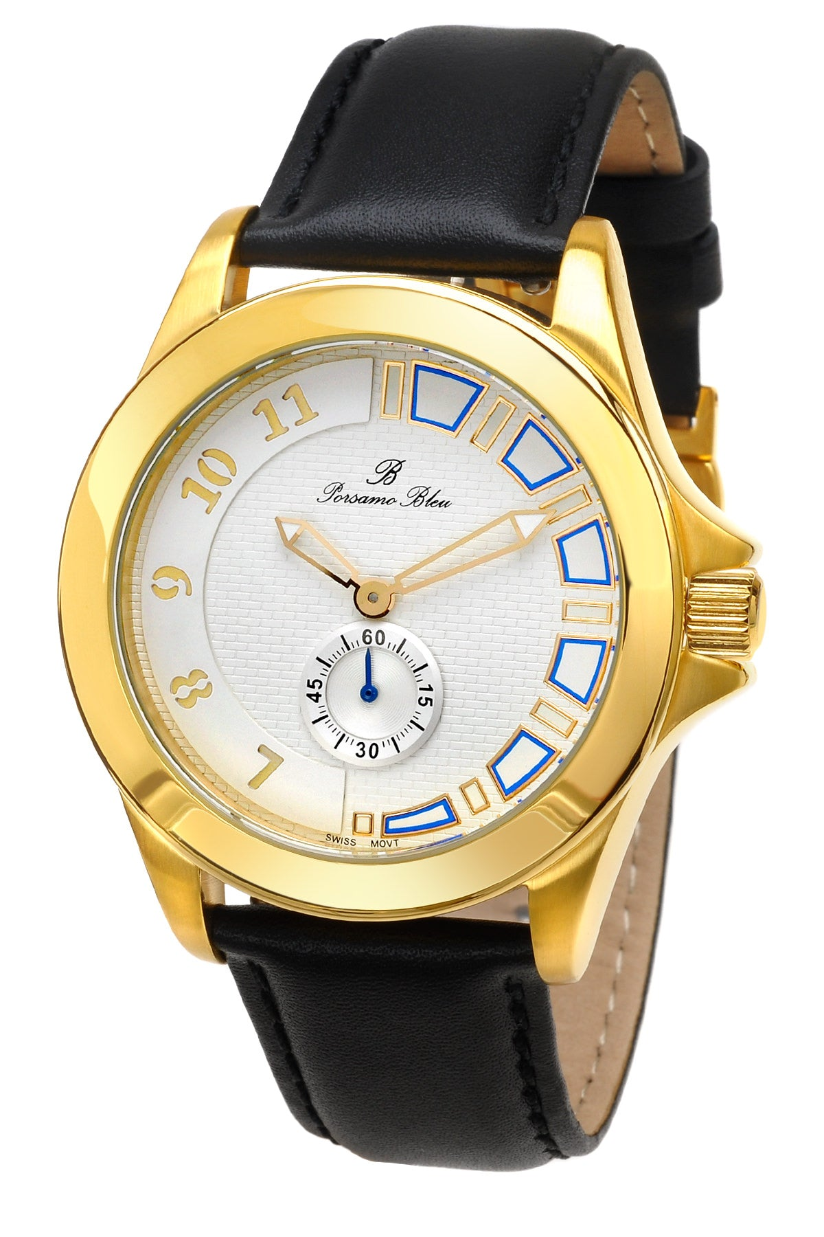 Porsamo Bleu Soho luxury men's dress watch with genuine leather band gold tone and black 042CSOL