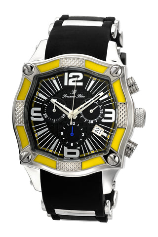 Porsamo Bleu Sao Paulo luxury chronograph men's watch, silicone strap, black, yellow 024CSPR