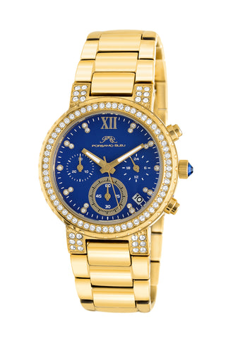 Porsamo Bleu Pilar luxury chronograph women's stainless steel watch, gold, blue 502BPIS