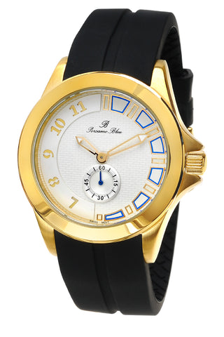 Porsamo Bleu Soho luxury men's watch, silicone strap, gold, black 044BSOR