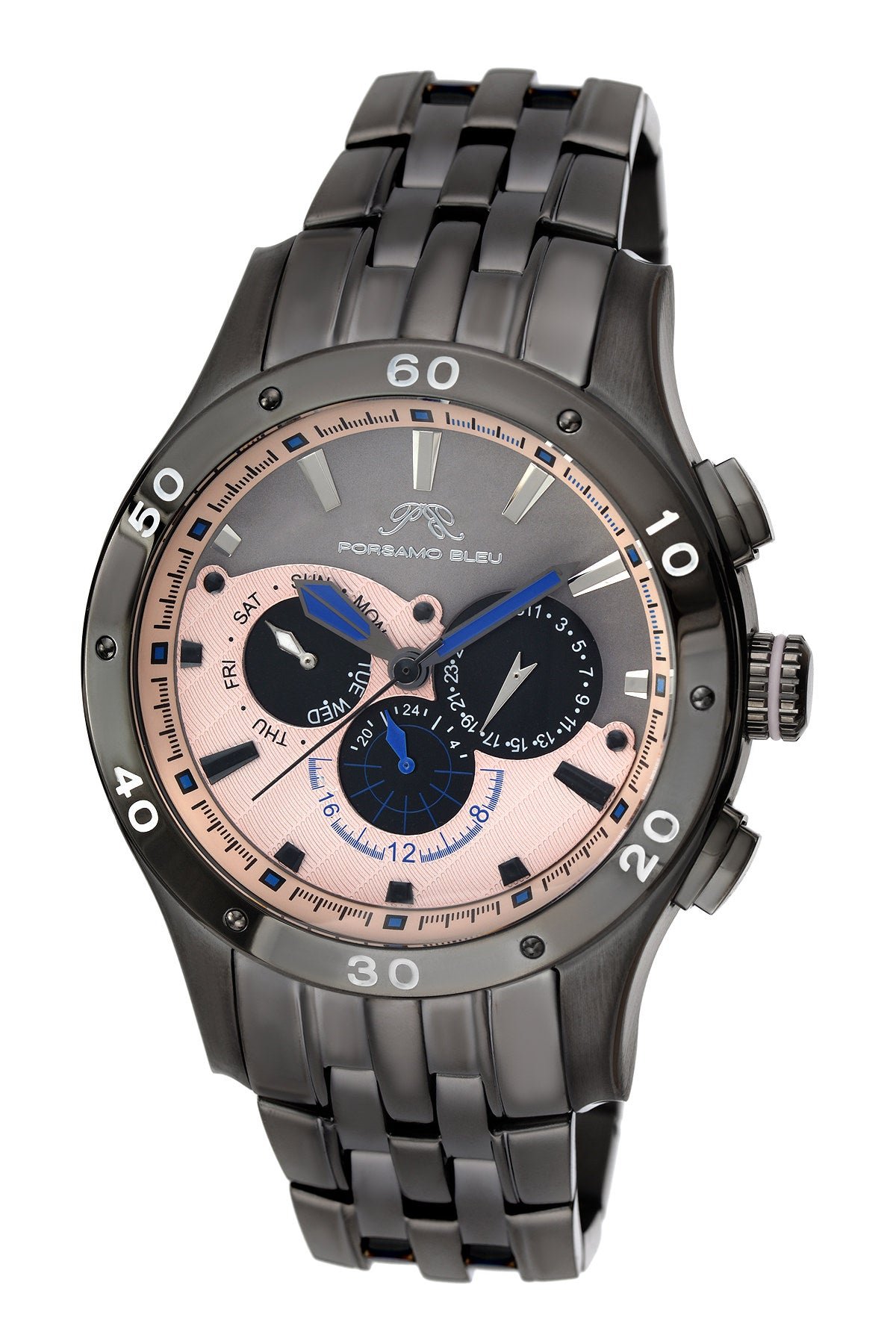 Porsamo Bleu, Andre luxury men's stainless steel watch, gunmetal, rose 222DANS