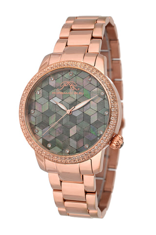 Porsamo Bleu Evelyn luxury topaz women's stainless steel watch, rose, black 762CEVS