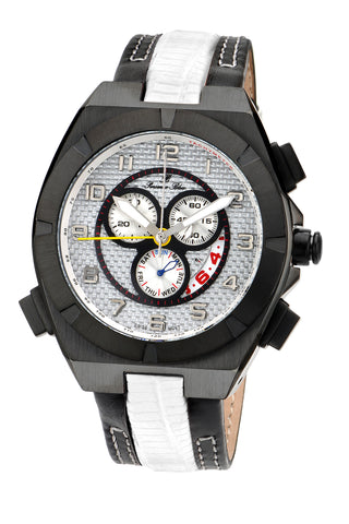 Porsamo Bleu Ibiza luxury chronograph men's watch, genuine leather band, black, white 123AIBL