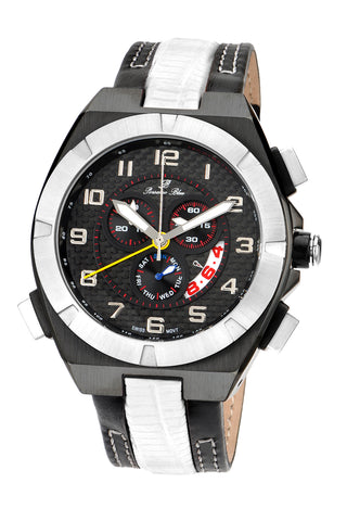 Porsamo Bleu Ibiza luxury chronograph men's watch, genuine leather band, black, white 121CIBL