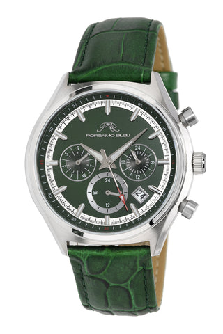 Porsamo Bleu Dylan luxury men's watch, genuine leather band, green 871DDYL