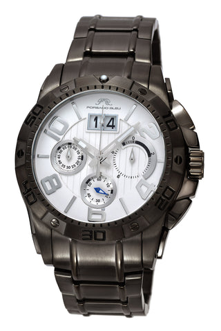 Porsamo Bleu Francoise luxury chronograph men's stainless steel watch, gunmetal, white 242CFRS
