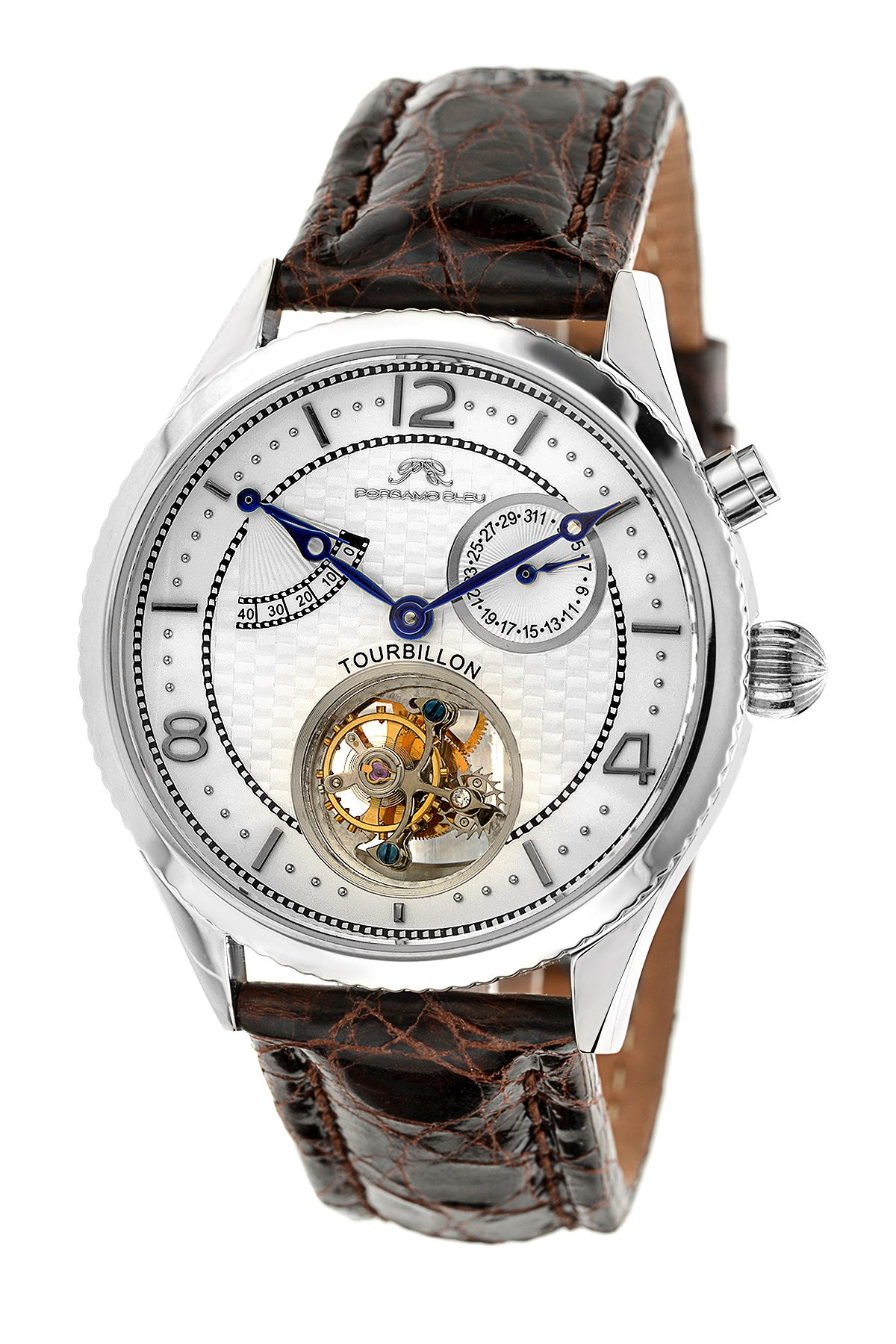 Porsamo Bleu Tourbillon men's luxury watch, genuine leather band, silver, white, brown 661ATBL