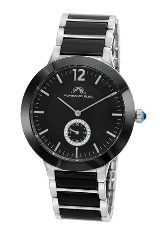 Porsamo Bleu Clarissa luxury women's ceramic watch, silver, black 552ACLC