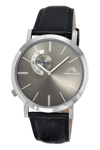 Porsamo Bleu Parker luxury men's watch, genuine leather band, silver, black, grey 832APAL
