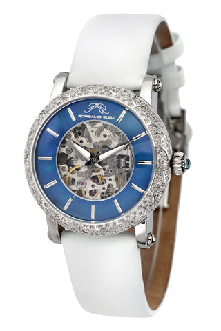Porsamo Bleu Liza luxury automatic topaz women's watch satin leather watch silver blue white 692ALIL