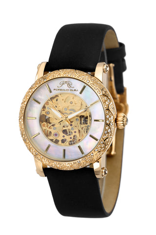 Porsamo Bleu Liza luxury automatic topaz women's watch, satin leather watch, gold, black 691BLIL