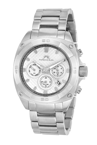 Porsamo Bleu Alex luxury men's stainless steel watch, silver, white 291AALS