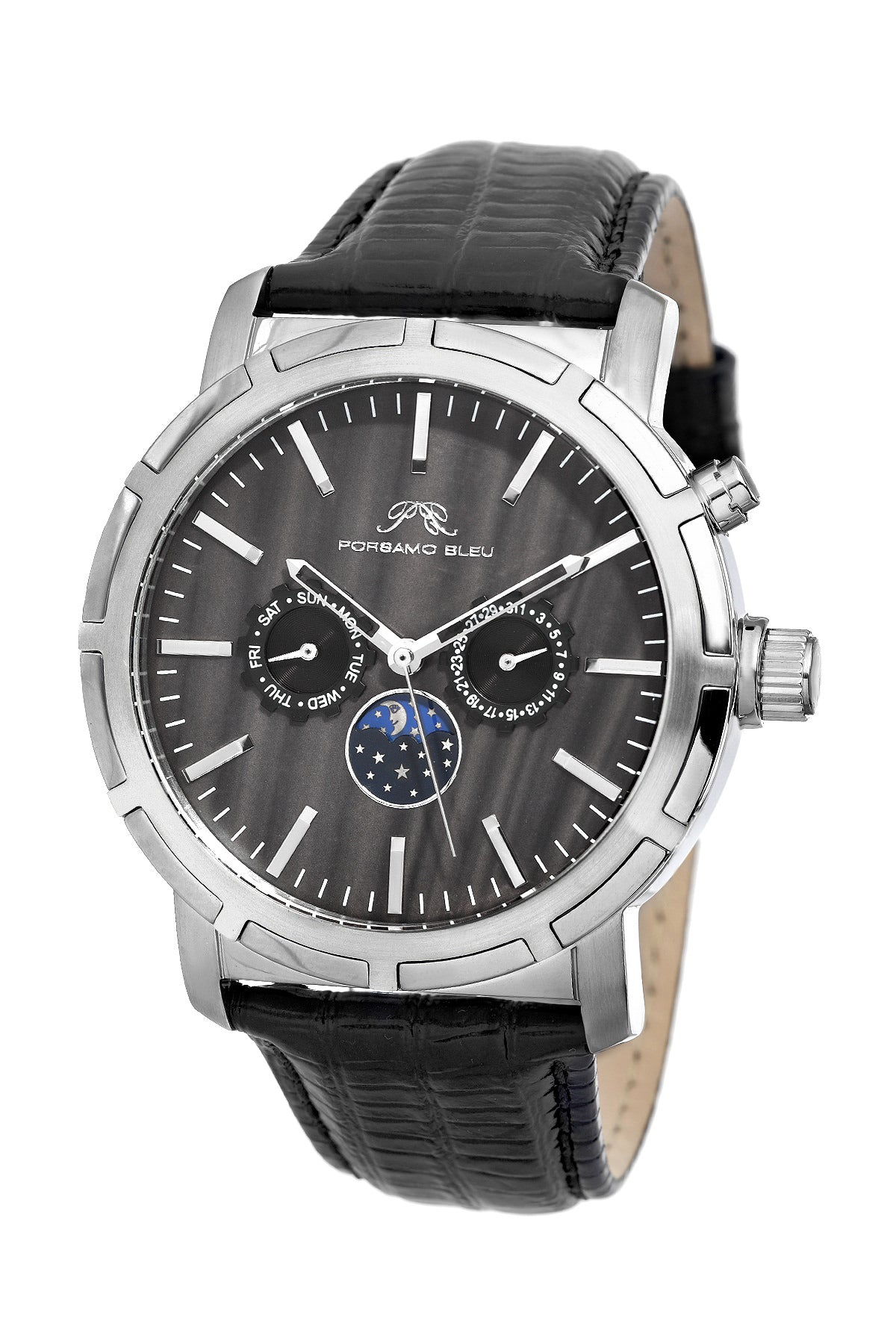 Porsamo Bleu NYC Moon luxury men's watch, genuine leather band, silver, black 057ANYL