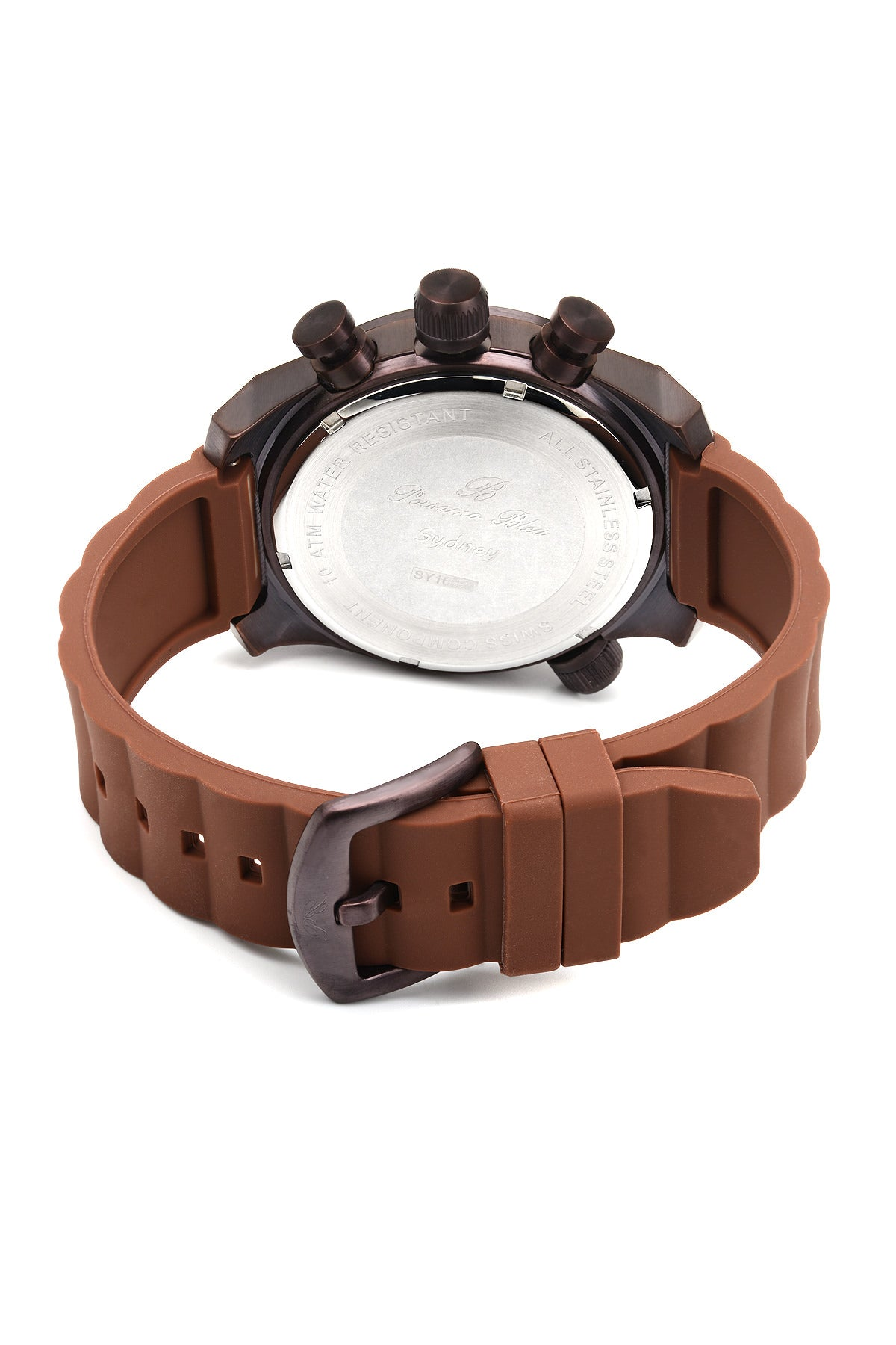 Porsamo Bleu Sydney luxury men's watch, silicone strap, brown 165CSYR
