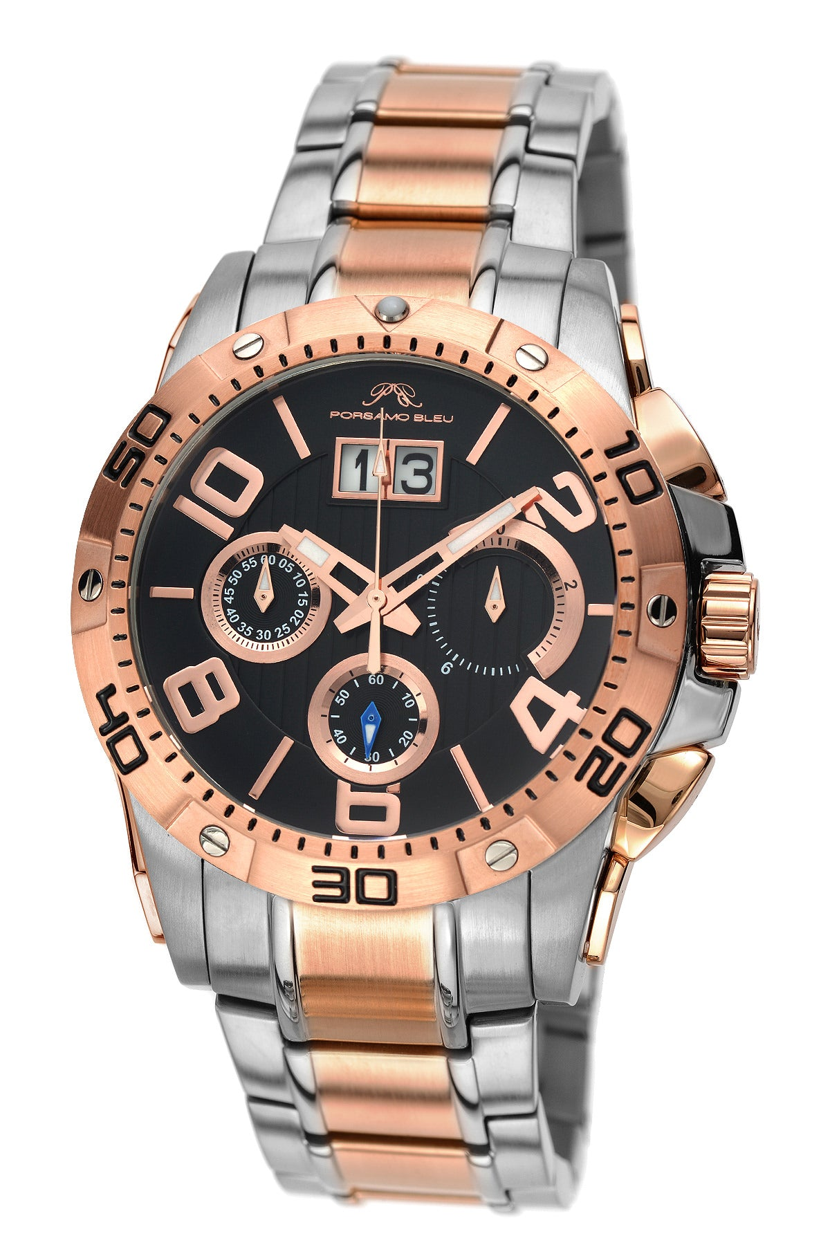 Porsamo Bleu Francoise luxury chronograph men's stainless steel watch, silver, rose, black 241AFRS