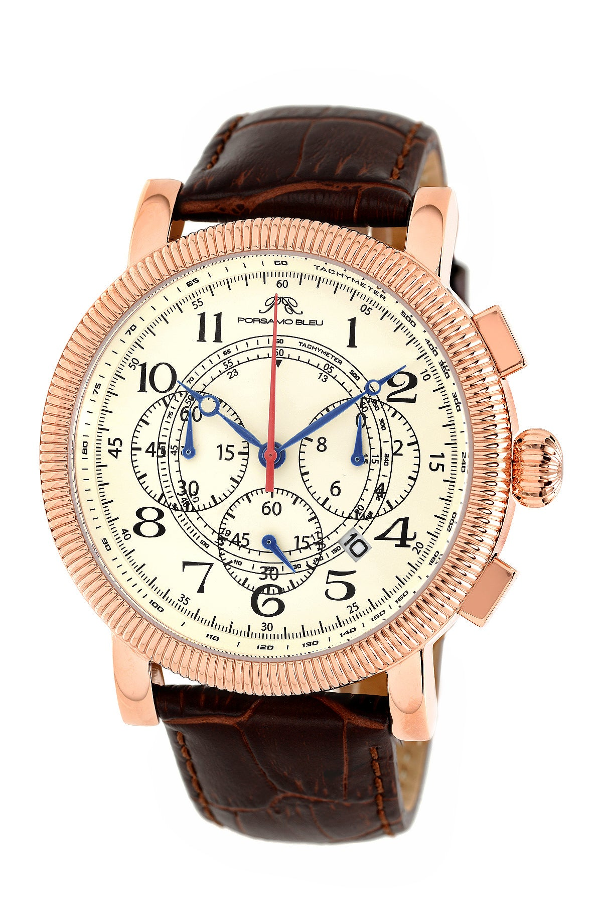 Porsamo Bleu Phileas luxury chronograph men's watch, genuine leather band rose, brown 471CPHL