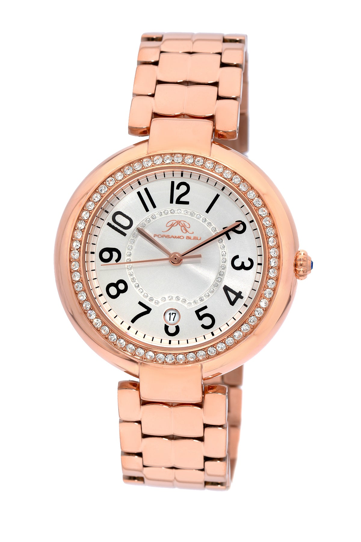 Porsamo Bleu Sofia luxury women's stainless steel watch, rose, white 951CSOS
