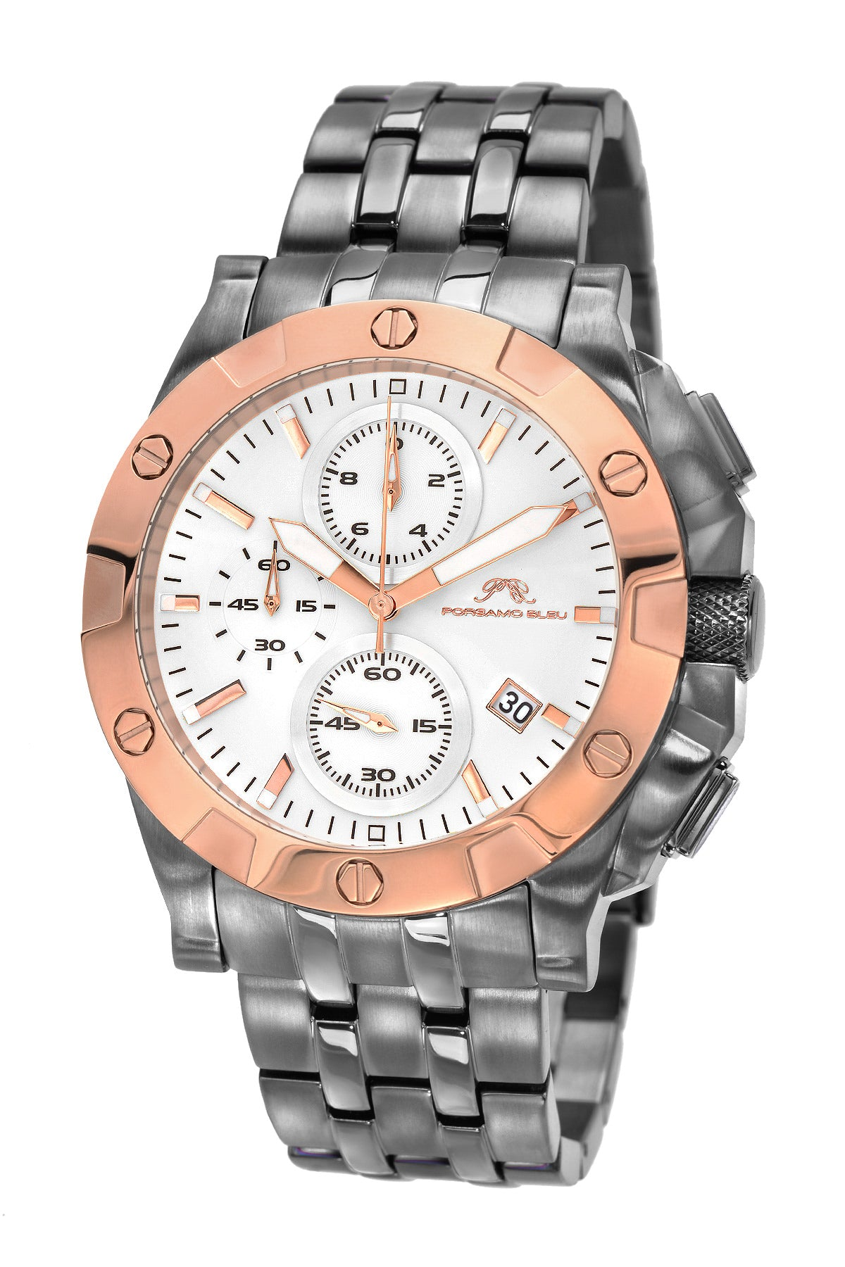 Porsamo Bleu George luxury chronograph men's stainless steel watch, rose, gunmetal 342CGES