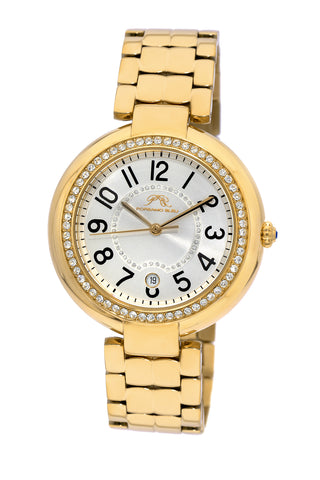 Porsamo Bleu Sofia luxury women's stainless steel watch, gold, white 951BSOS