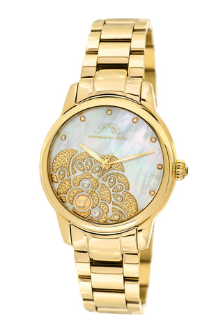 Porsamo Bleu Juliet luxury diamond, opal women's stainless steel watch, gold 701BJUS