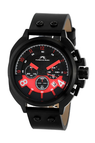 Porsamo Bleu Connor luxury chronograph men's watch, genuine leather band, black, red 421BCOL