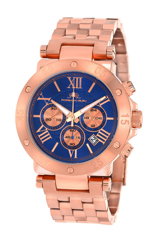 Porsamo Bleu Sasha luxury chronograph men's stainless steel watch, rose, blue 442CSAS