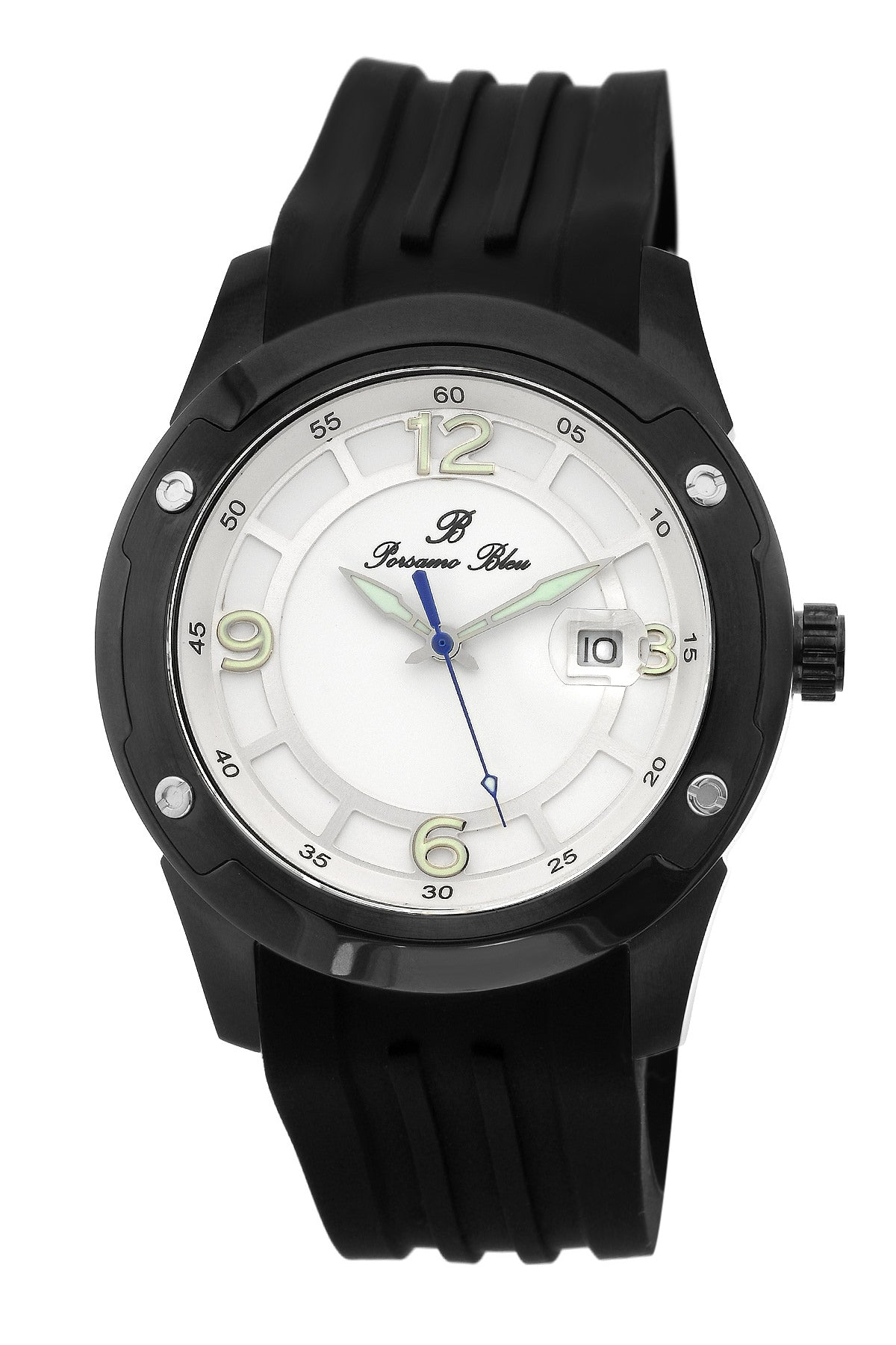 Porsamo Bleu Tokyo luxury Automatic men's watch, silicone strap, black, white 172CTOR