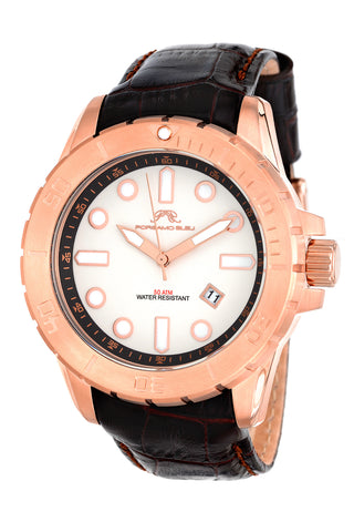 Porsamo Bleu Tommy luxury men's watch, genuine leather band, rose, brown 632BTOL