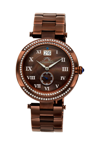 Porsamo Bleu South Sea Crystal luxury women's stainless steel watch, brown 104DSSC