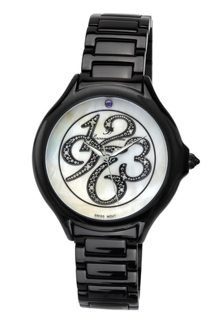 Porsamo Bleu Paris luxury diamond women's stainless steel watch, black 132EPAS