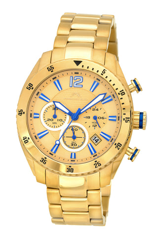 Porsamo Bleu Taylor luxury chronograph men's stainless steel watch, gold 621BTAS