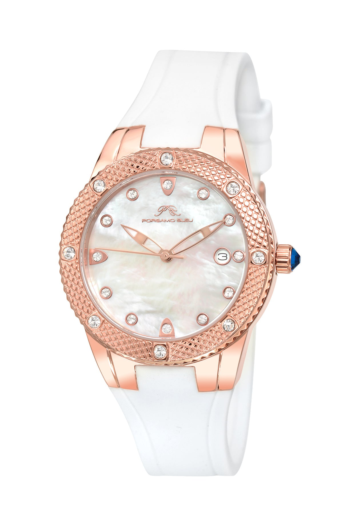 Porsamo Bleu Linda luxury women's watch, silicone strap, rose, white 491CLIR