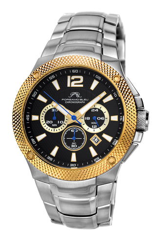 Porsamo Bleu Pierre luxury chronograph men's stainless steel watch, silver, gold, black 252BPIS