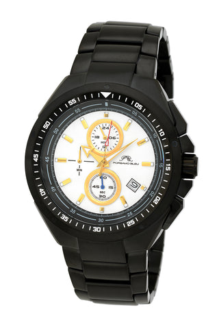 Porsamo Bleu Damien luxury chronograph men's stainless steel watch, black 311FDAS