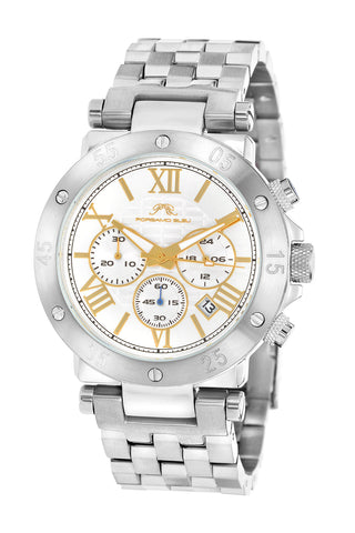 Porsamo Bleu Sasha luxury chronograph men's stainless steel watch, silver, white 441ASAS