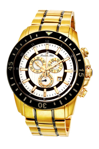 Porsamo Bleu Grand Prix G luxury chronograph men's stainless steel watch, gold, black 083BGPS