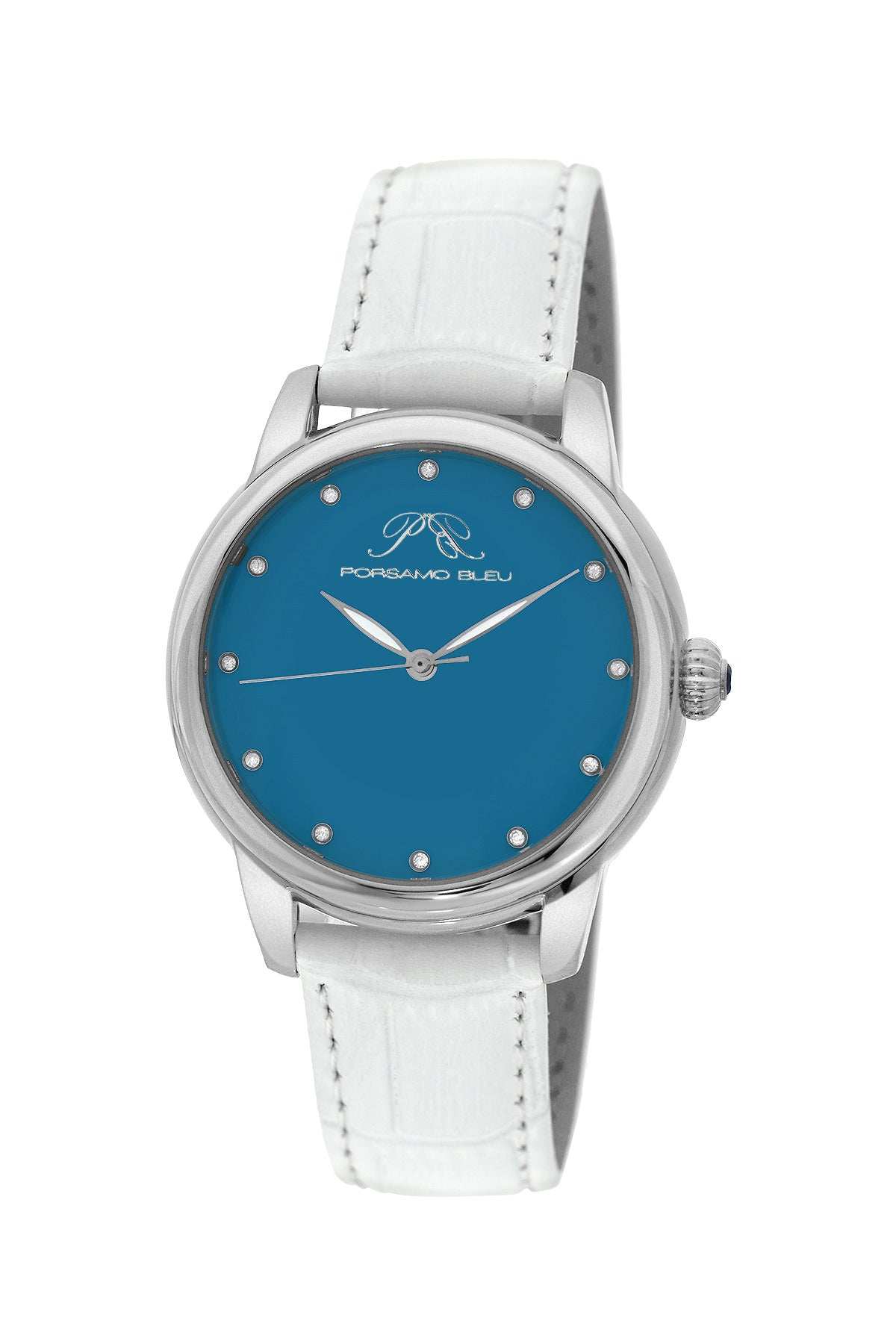 Porsamo Bleu Gemma luxury diamond women's watch, genuine leather band, silver, white, turquoise 731AGEL