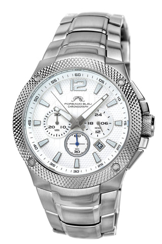 Porsamo Bleu Pierre luxury chronograph men's stainless steel watch, silver, white 251APIS