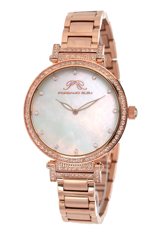 Porsamo Bleu Chantal luxury topaz women's stainless steel watch, rose, white 671CCHS