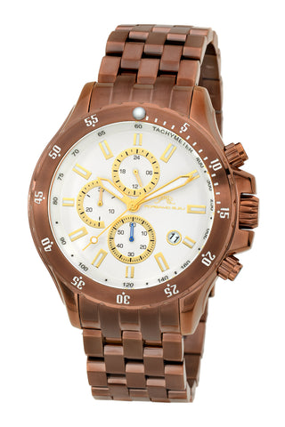 Porsamo Bleu Lorenzo luxury chronograph men's stainless steel watch, brown 562BLOS