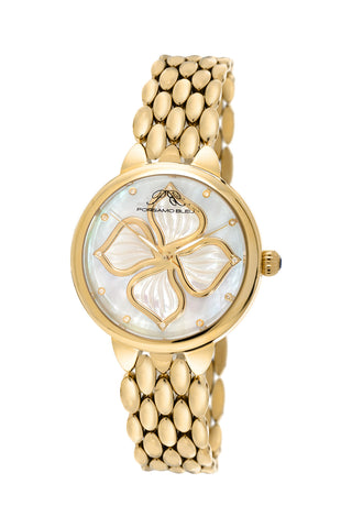 Porsamo Bleu Blair luxury diamond women's stainless steel watch, gold, white 711BBLS