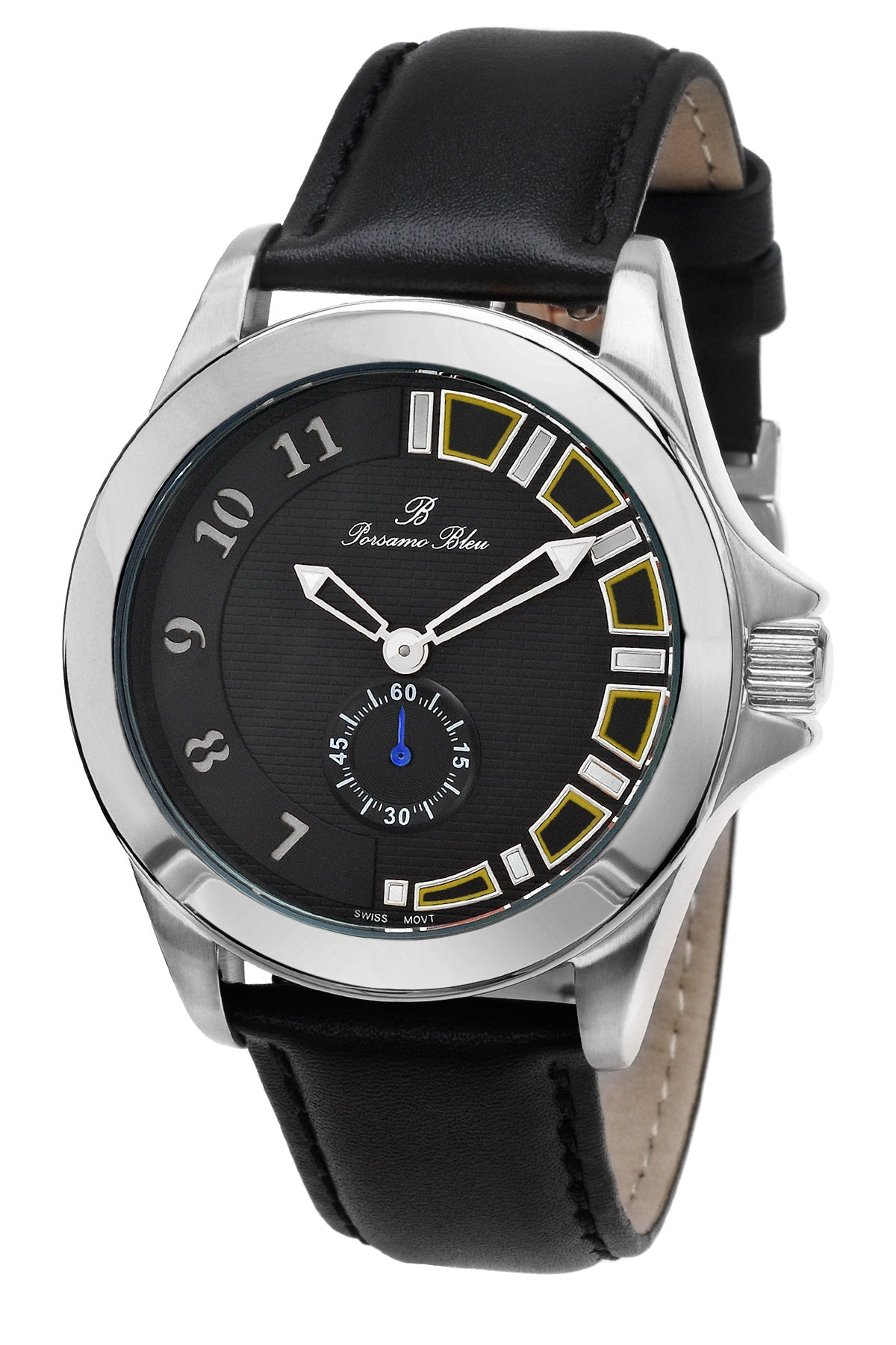 Porsamo Bleu Soho luxury men's dress watch with genuine leather band silver tone and black 041BSOL