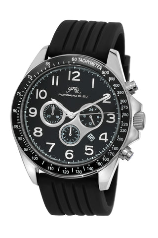 Porsamo Bleu Wolfgang luxury  chronograph men's watch, silicone strap, silver, black 571AWOR