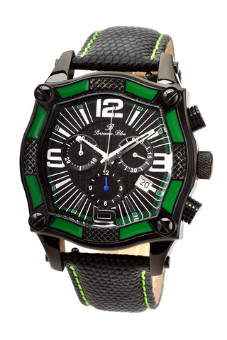 Porsamo Bleu Sao Paulo chronograph men's watch, genuine leather band, black, green 021CSPL
