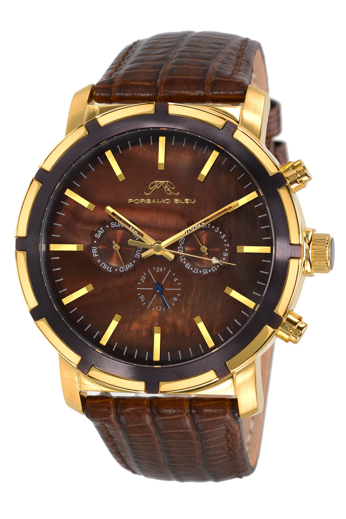 Porsamo Bleu NYC luxury men's watch, genuine leather band, gold, brown 051CNYL