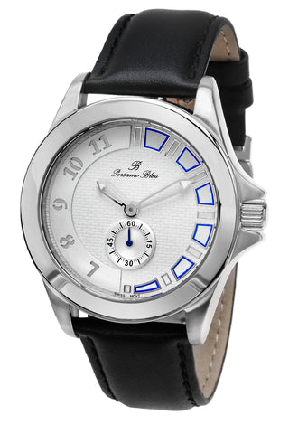 Porsamo Bleu Soho luxury men's dress watch with genuine leather band silver tone and black 042ASOL