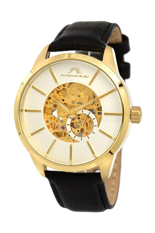 Porsamo Bleu Cassius luxury automatic men's watch, genuine leather band, gold, black, white 801BCAL